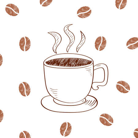 coffe beans: Cup of hot coffee isolated on white background. Doodle vector illustration. Illustration