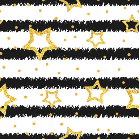 stripped background: Glittering gold stars and dots on stripped background. Seamless pattern.