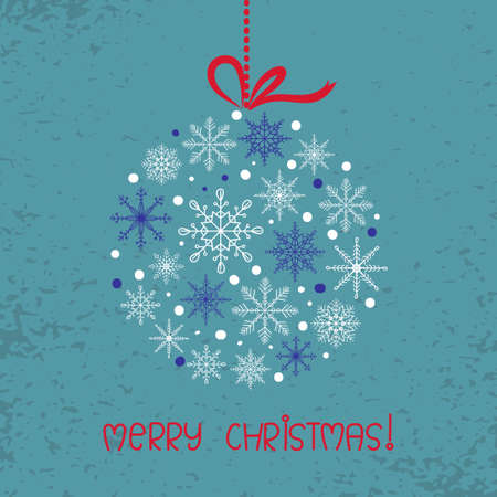 holiday background: Merry Christmas card template with hand drawn snowflakes. Holiday background. Illustration