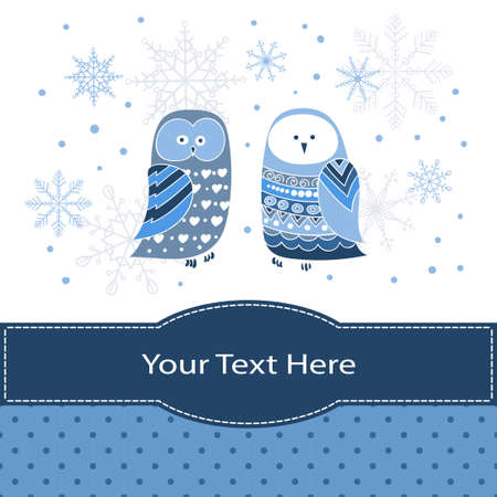 party cartoon: Winter greeting card or invitation design template in blue. Two cute owls.