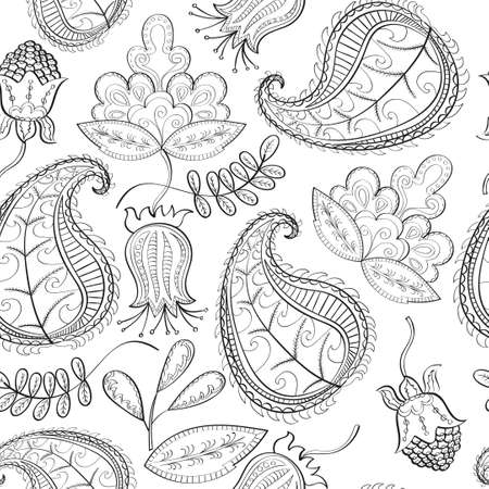 Paisley pattern. Floral seamless background. Hand drawn illustration.