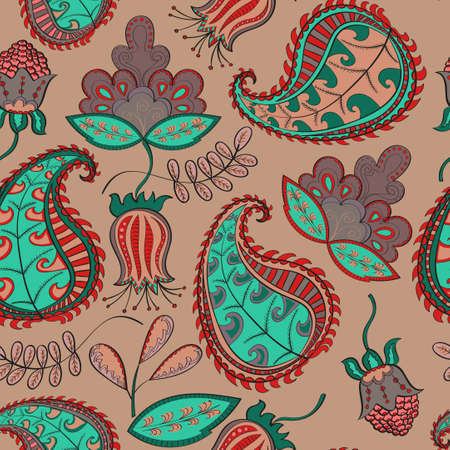 Floral background. Colorful Paisley pattern.