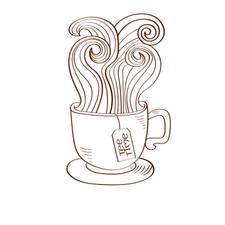 teabag: Doodle cup of tea with swirl steam and teabags label. Sketchy vector illustration.