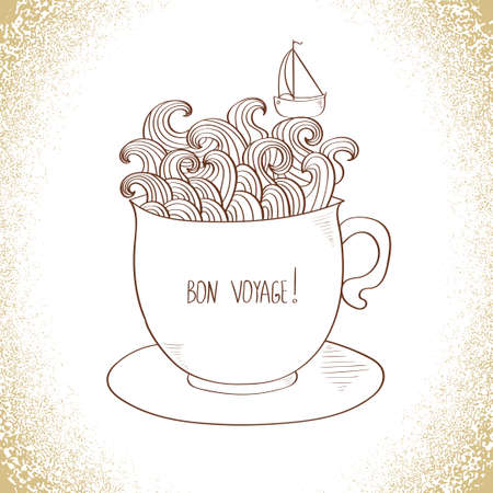 bon: Doodle vector illustration with lettering Bon Voyage - Happy journey. Illustration