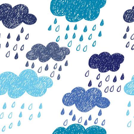 patrón de lluvias sin fisuras. Fondo del vector con las nubes del doodle.