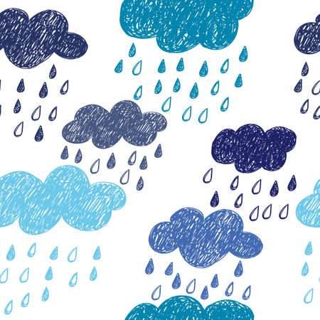 rain drops: Seamless rainy pattern. Vector background with doodle clouds.