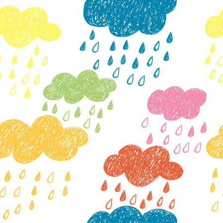 Seamless pattern with colorful rainy clouds. Doodle background.