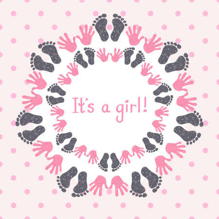 its: Its a girl card template. Congratulation background.