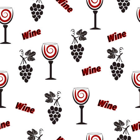 wineglasses: Wine pattern. Alcohol seamless background with wineglasses and grapes.