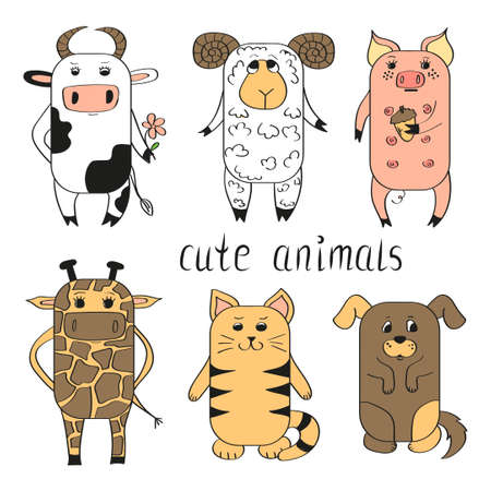 baby sheep: Cute animals set. Vector illustrations isolated on white background.