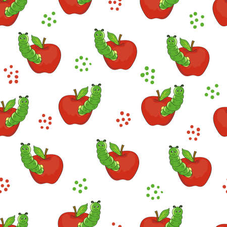 caterpillars: Cute caterpillars with apples. Seamless pattern.