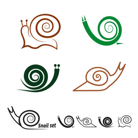 cochlea: Snails set. Collection of vector icons. Illustration