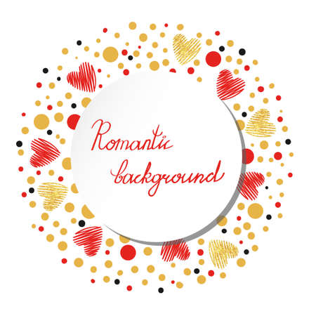 gold circle: Romantic background with red and gold sparkling hearts. Decorative round template isolated on white. Suitable for wedding and Valentines day design.