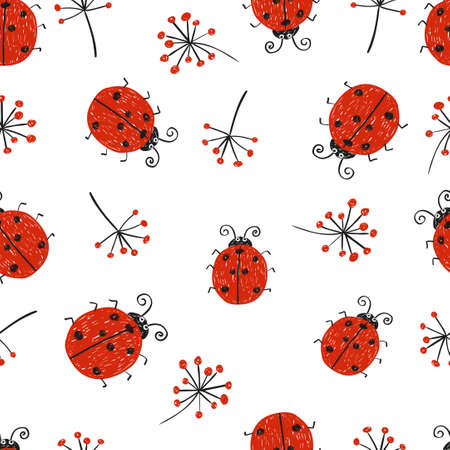 ladybug: Ladybugs seamless pattern. Vector repeating wallpaper with cute doodle ladybirds.