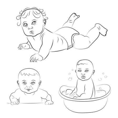 little girl bath: Set of cute babies. Sketch vector illustrations. Baby in diaper, smiling baby, bathing baby.