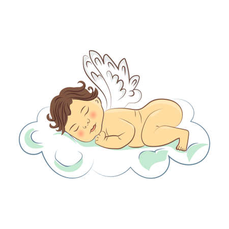 Sleeping baby angel on the cloud. Vector illustration.