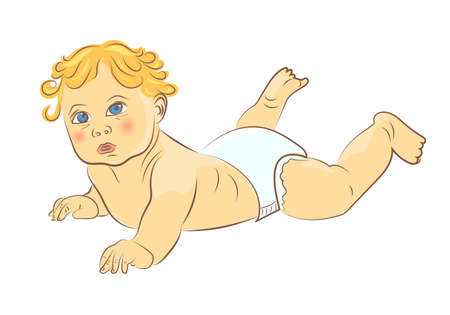 laying little: Cute baby in diaper isolated on white background. Hand drawn colorful vector illustration.