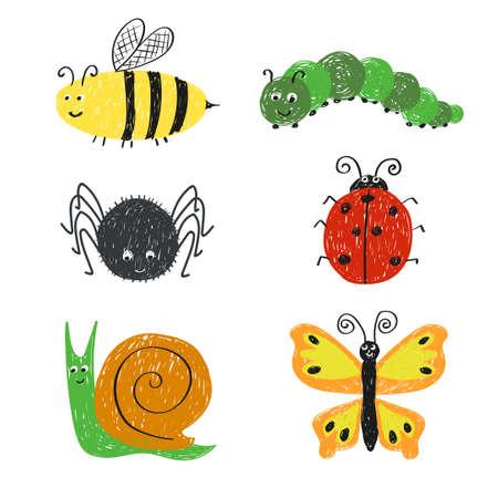 catarina caricatura: insectos lindos fijados. abeja de la historieta, mariquita, caracol, araña y la mariposa aislado en blanco.