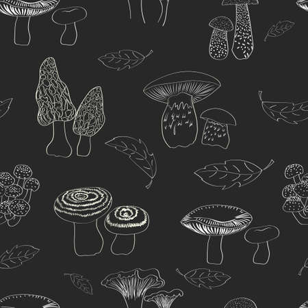 morel: Mushrooms seamless pattern. Black and white repeating background.