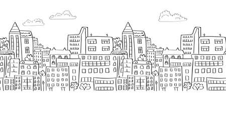 abstract building: Cityscape seamless border for your design. Doodle vector background.