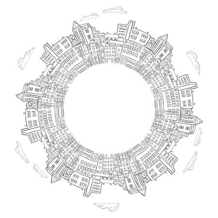 clouds scape: Round frame with doodle city buildings. Vector illustration with place for text. Decorative element for infographics, brochures. Illustration