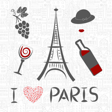 french culture: Love in Paris vector illustration.