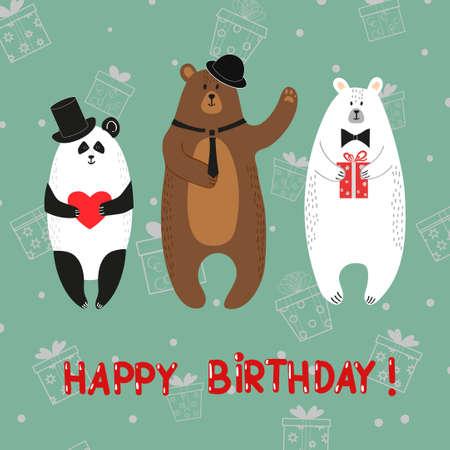 Cute Bears Polar Brown Panda Happy Birthday Card Vector