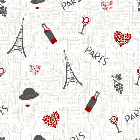wineglasses: Love in Paris background. Seamless pattern with wineglasses, eiffel tower, grapes and hearts. Illustration