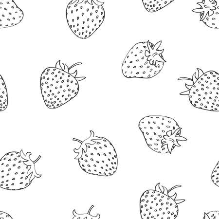 Strawberry seamless pattern. Doodle sketchy berries isolated on white background.