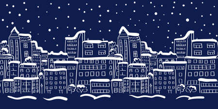 snow scape: Winter cityscape seamless border. Panorama. Doodle vector illustration. Illustration