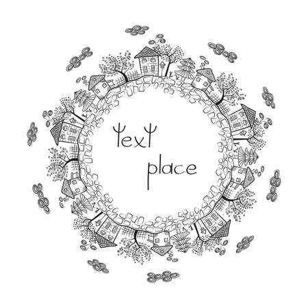 rural town: Village landscape, rural town design. Round decor with place for your text. Doodle houses and trees. Sketch vector illustration isolated on white background. Illustration