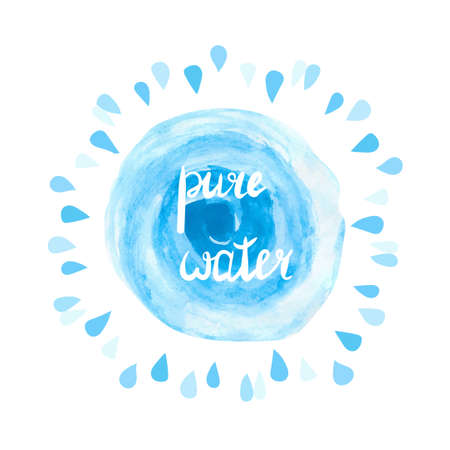blue circle: Pure water vector illustration. Watercolor blue splash and drops on white background. A concept of environmental and water resources protection. Hand drawn logo. Illustration