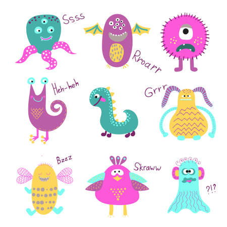 mutant: Set of cute cartoon monsters isolated on white background. Funny creatures collection. Vector illustrations.