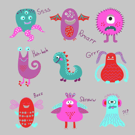 creatures: Cute cartoon monsters set. Collection of funny creatures. Vector illustrations of aliens.