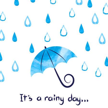 Rainy day background. Watercolor vector illustration of rain drops and umbrella. Vectores