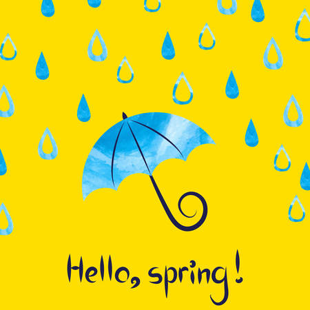 Hello spring. Vector illustration with watercolor umbrella and drops. Spring rain, rainy day background.