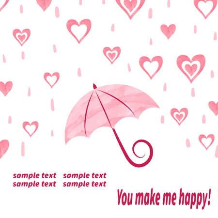 love in rain: Watercolor love background with umbrella and hearts. Love rain. Valentines day vector illustration. Illustration