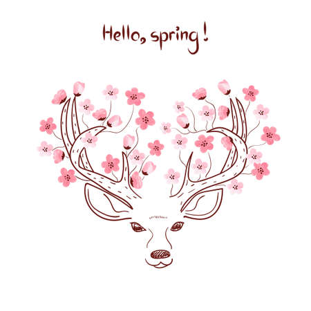 Hello spring vector illustration, Sketchy deer with blooming pink watercolor flowers. 免版税图像 - 55560060