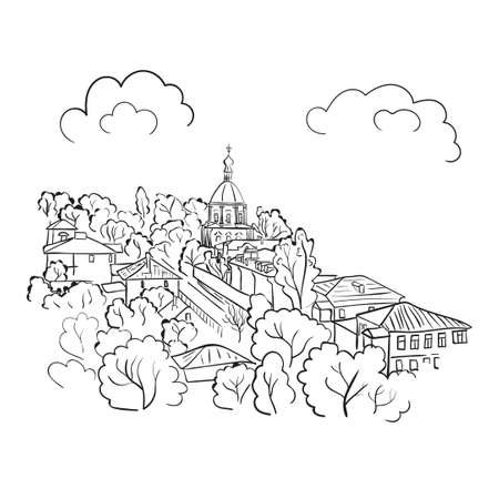 town houses: Cityscape sketch. Doodle vector illustration of town. Illustration