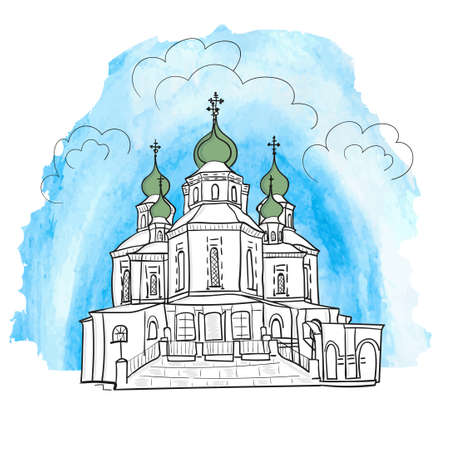 tabernacle: Vector illustration of sketch church on blue watercolor background Illustration