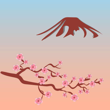 Blossoming cherry tree branch - sakura, and silhouette of Mount Fuji. Vector illustration.