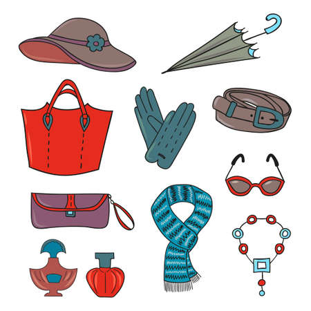 woman in scarf: Woman accessories set. Collection of colorful female accessories - bags, glasses, scarf, gloves, hat, umbrella, perfume. Vector illustration.