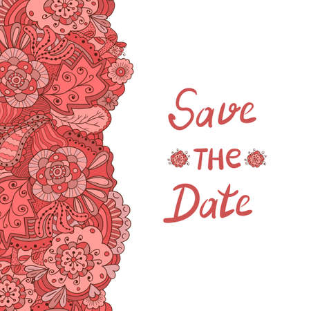 romantic date: Floral romantic background. Save the Date design. Vector illustration with doodle flowers and leaves in red and pink colors.