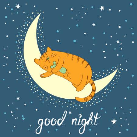 cat sleeping: Cute cartoon cat sleeping on the moon. Good night lettering. Vector illustration.