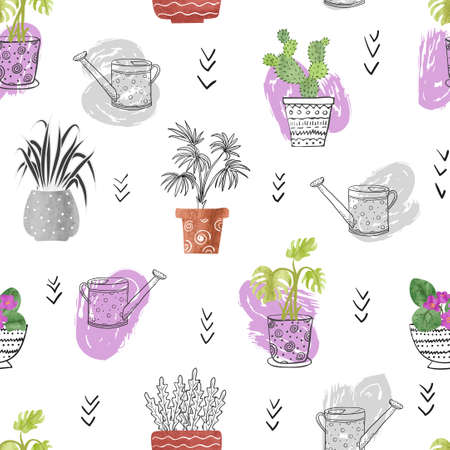 house plants: Seamless pattern with watercolor plants in the pots. House plants isolated on white. Vector background.