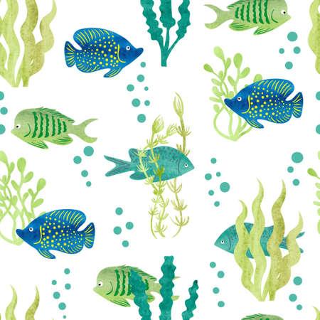 수채화 물고기 원활한 패턴입니다. 열 대 물고기와 흰색 배경에 해 초입니다. 벡터. 스톡 콘텐츠 - 57974328