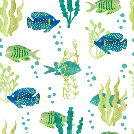 Watercolor fish seamless pattern. Tropical fish and seaweeds on white background. Vector.