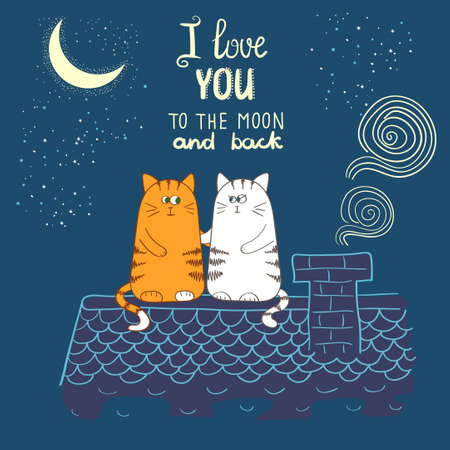 Cute cartoon cats in love. Romantic vector illustration. I love uoy to the moon and back - lettering. Valentine`s day design. 向量圖像