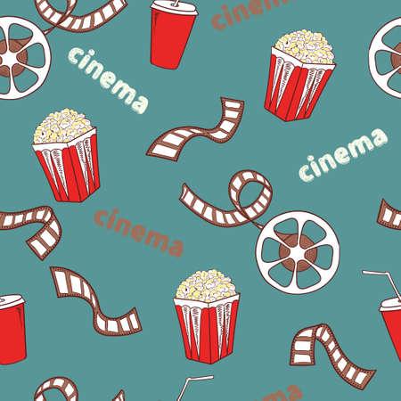 Cinema seamless pattern. Bright cinema symbols - popcorn, film reel and strip - isolated on blue. Vector background.