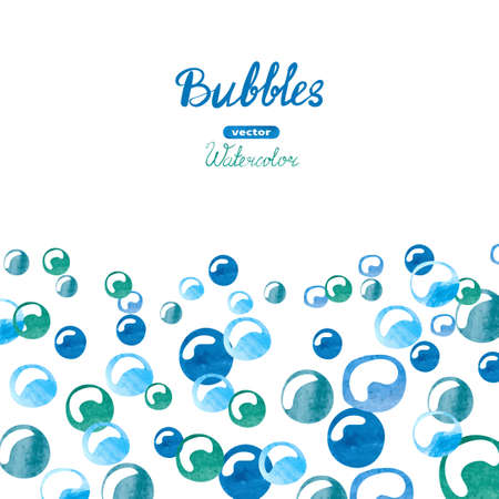 blue bubbles: Watercolor background with blue bubbles. Place for your text. Vector illustration. Illustration